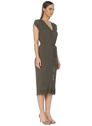 NetWork Kadın 1074311 V Yaka Beli Bağcıklı Midi Elbise Haki